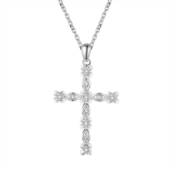 Real Diamond Floral Cross Pendant 14K White Gold